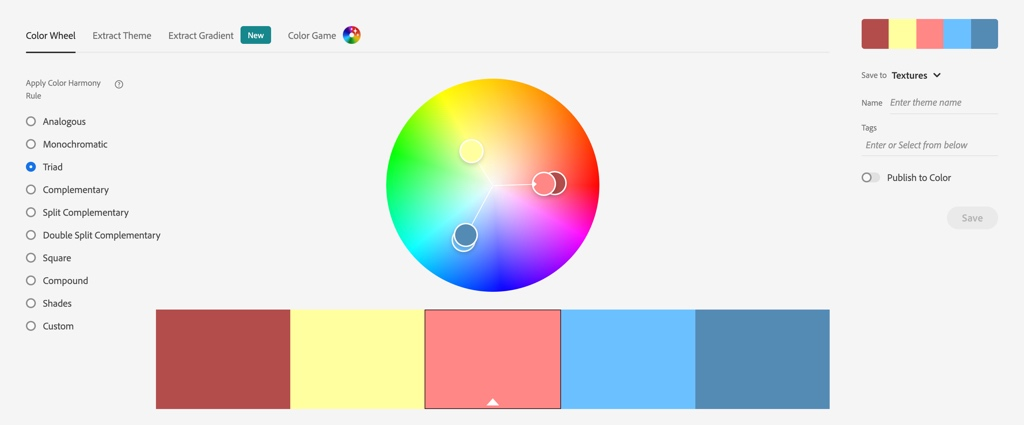 Color wheel tool in Adobe Colors