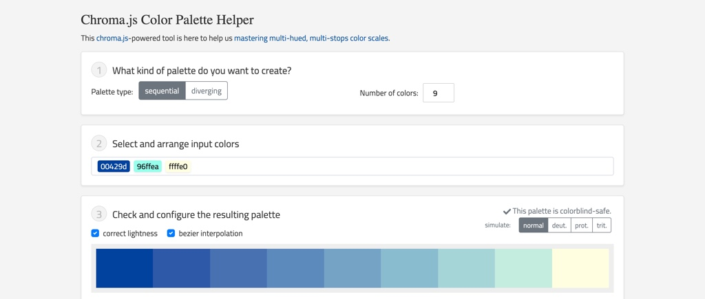 Chroma.js Color Palette Helper to create color scales